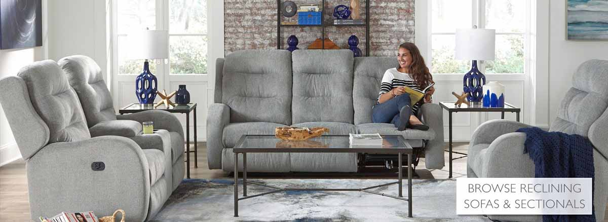 Picture of a woman sitting on a best sofa