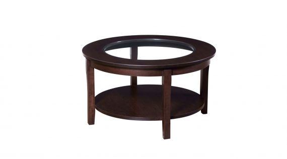 """Picture of the Woodworks 36"""" Round Glass Top Coffee Table"""