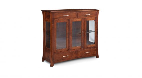 Picture of a Simply Amish Loft 3-Door Dining Cabinet with Glass Doors